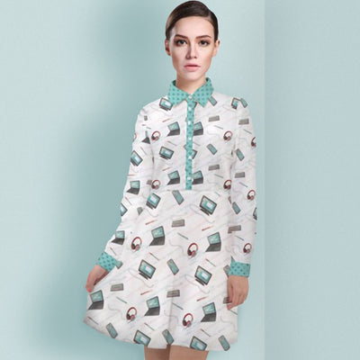 Girl Develop It x LottiLove - Long Sleeve Chiffon Shirt Dress - LottiLove Made to Order
