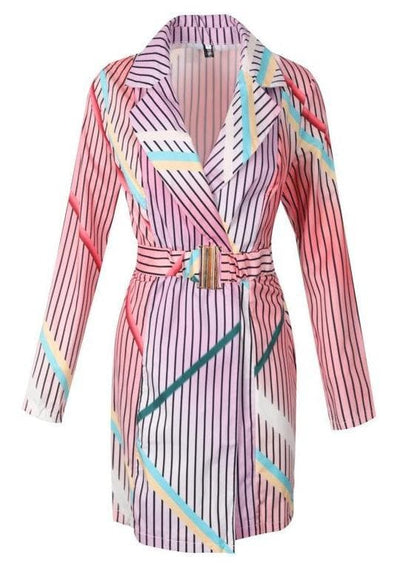 Holographic Pattern Trench Coat Dress - LottiLove Dresses