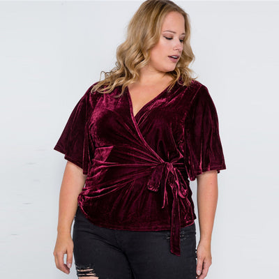 Velvet Plus Size Tops with Side Ties - LottiLove Tops