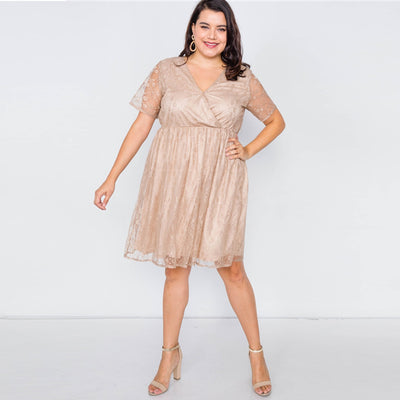 Sheer Lace Plus Size Mini Dress - LottiLove Dresses