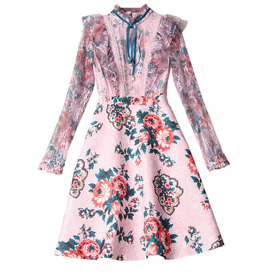 Floral Ribbon Collar Long Sleeve Dress - LottiLove Dresses