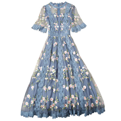 Blue Floral Lace Dress - LottiLove Dresses