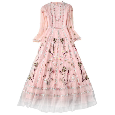 Flower Embroidery Party Dress - LottiLove Dresses