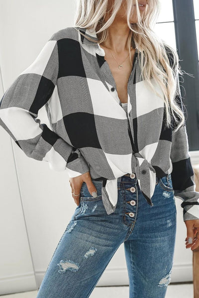 Black Turn Down Collar Plaid Button Down High Low Hem Blouse - LottiLove Blouses & Shirts