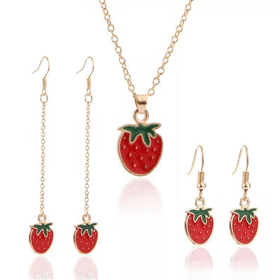 Strawberry Enamel Accessories Set - LottiLove Jewelry