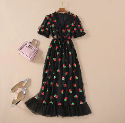 Black Strawberry Dress - LottiLove Apparel