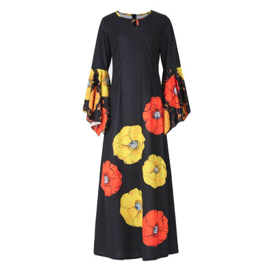 Flare Sleeve Vibrant Floral Print Dress - LottiLove Dresses