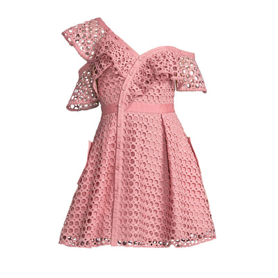 Off-Shoulder Lace Pattern Light Pink Dress - LottiLove Dresses