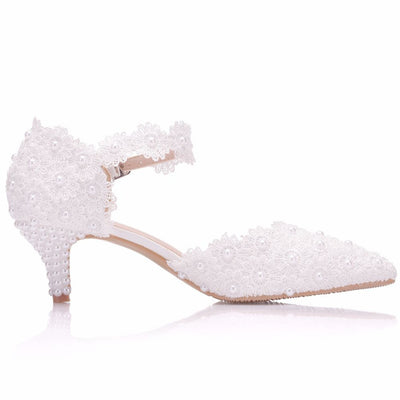 Crystal Detail Low Heels - LottiLove Shoes
