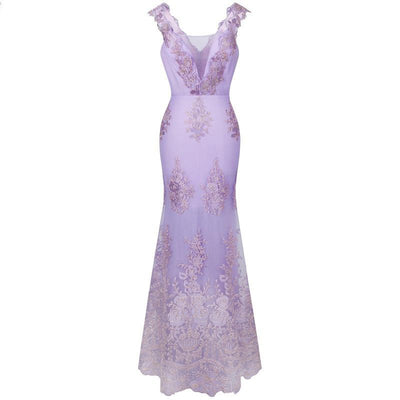 Purple Embroidery Lace Mermaid Gown - LottiLove Dresses