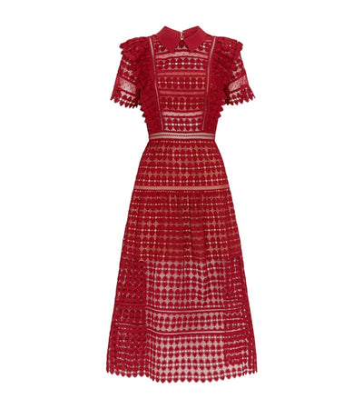 Red Lace Designer Collared Dress - LottiLove Dresses