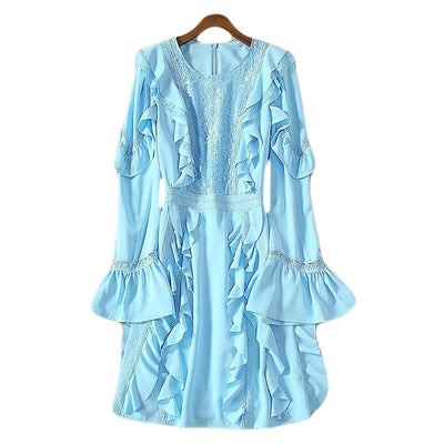 Ruffle Lace Full Sleeve Mini Dress - LottiLove Dresses