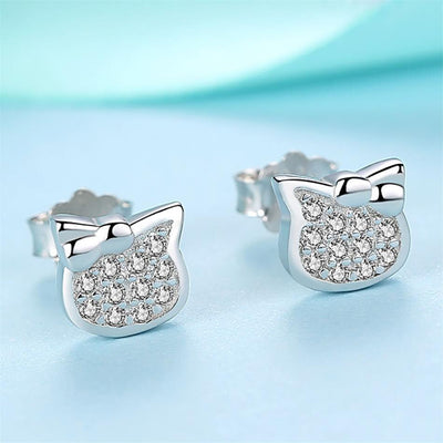 Kitten Bow Sterling Silver Earrings with Cubic Zirconia - LottiLove Jewelry
