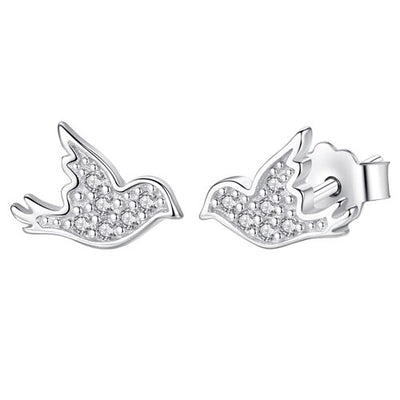 Sterling Silver Cubic Zirconia Dove Earrings - LottiLove Jewelry