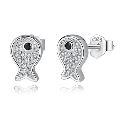 Sterling Silver Goldfish Studs with Cubic Zirconia - LottiLove Jewelry