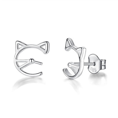 Sterling Silver Kitten Studs - LottiLove Jewelry