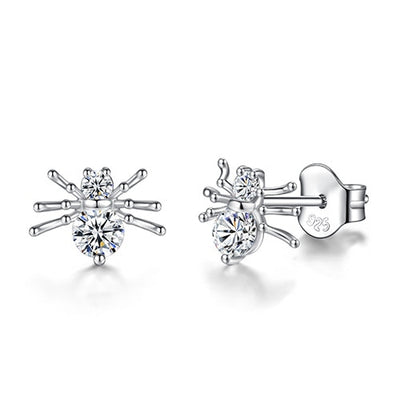 Spider Cubic Zirconia Studs in Sterling Silver - LottiLove Jewelry