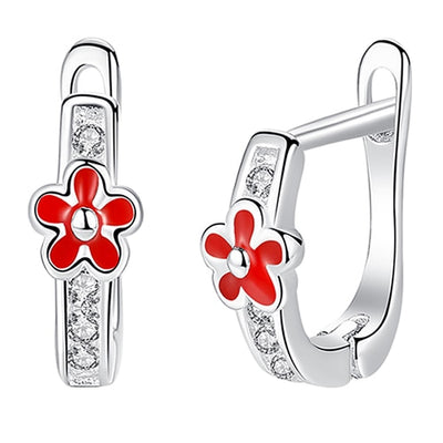 Red Flower Sterling Silver and Cubic Zircobia Earrings - LottiLove Jewelry