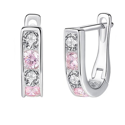 Light Pink Cubic Zirconia Sterling Silver Earrings - LottiLove Jewelry