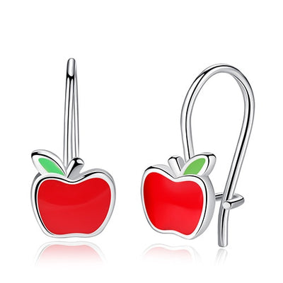 Sterling Silver Apple Earrings - LottiLove Jewelry