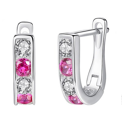 Pink Sterling Silver Cubic Zirconia Earrings - LottiLove Jewelry