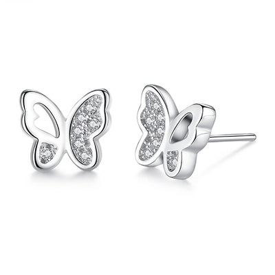 Cubic Zirconia Butterfly Earrings in Sterling Silver (Detailed) - LottiLove Jewelry