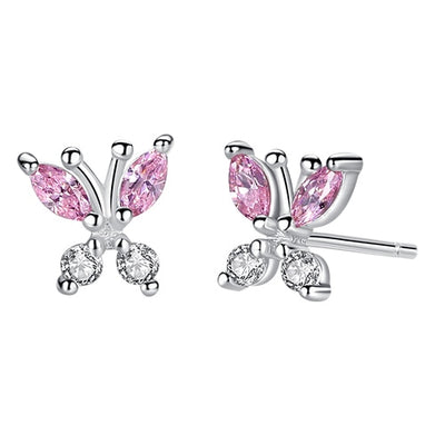 Pink Cubic Zirconia Sterling Silver Studs - LottiLove Jewelry