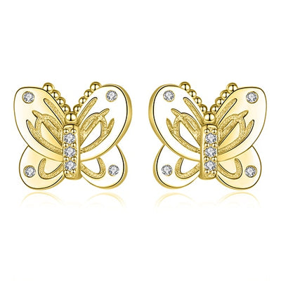 Butterfly Earrings with Cubic Zirconia Stones - LottiLove Jewelry