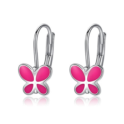 Pink Sterling Silver Butterfly Earrings - LottiLove Jewelry