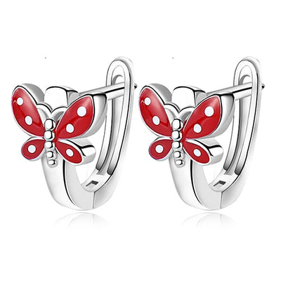 Sterling Silver Red Butterfly Earrings - LottiLove Jewelry
