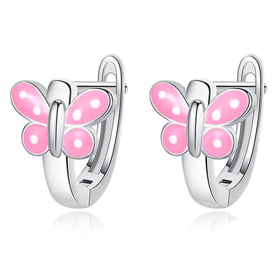 Pink Butterfly Earrings in Sterling Silver - LottiLove Jewelry