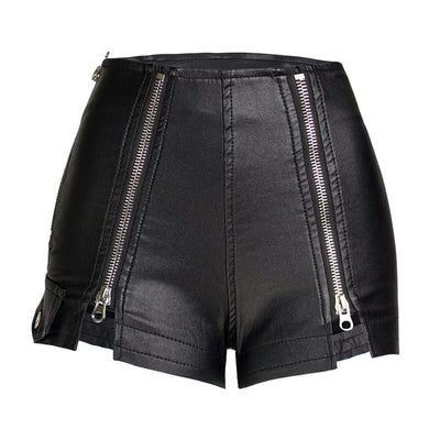 Vegan Leather Double Zip Shorts - LottiLove