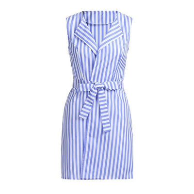 Striped Belt Tie Mini Dress - LottiLove Dresses