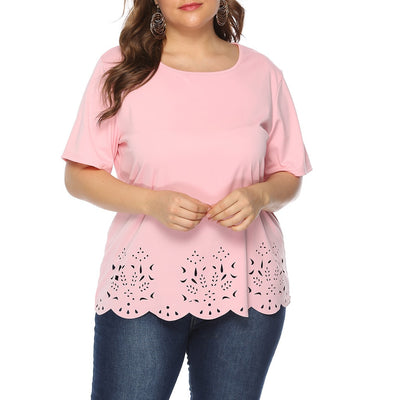 Plus Size Women Pink Short Sleeve Blouse for Summer - LottiLove Tops