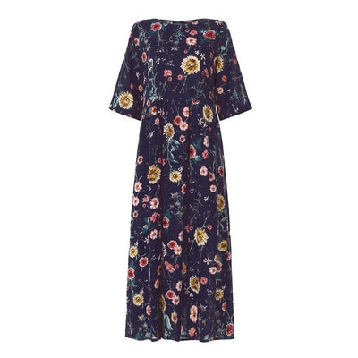 Sunflower Maxi Shift Dress - LottiLove Dresses
