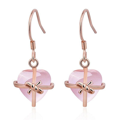 Natural Rose Heart Drop Earrings in Rose Gold - LottiLove Jewelry
