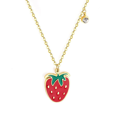 Strawberry Necklace - LottiLove Jewelry