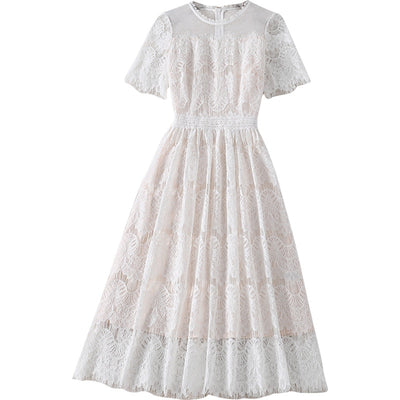 Ivory Lace Midi Dress - LottiLove Dresses