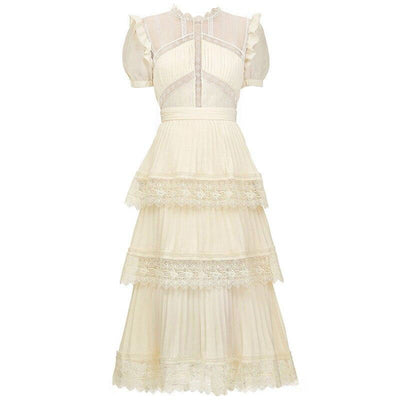 Short Sleeve Ivory Midi Dress with Puff Sleeves - LottiLove Dresses