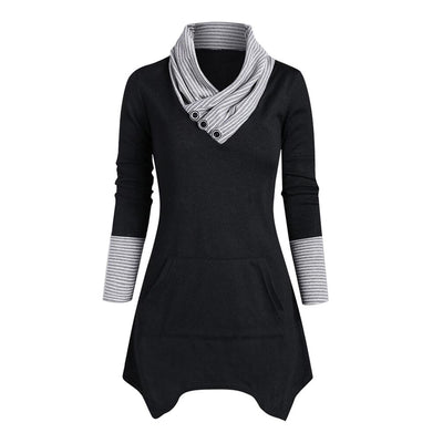 Plus Size Black Tunic Long Sleeve Tops - LottiLove Tops