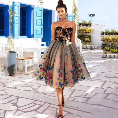 Colorful Butterfly Short Evening Party Gown Dress - LottiLove Dresses