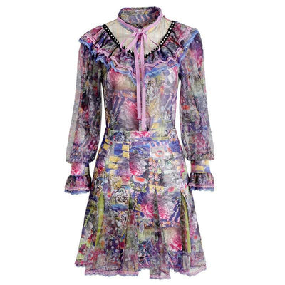 Multicolored Flared Sleeve Mini Dress - LottiLove Dresses