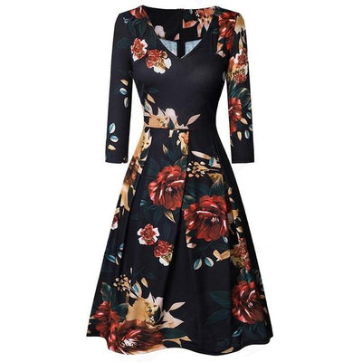 Floral Printed V Neck Office Dress - LottiLove