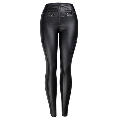 Vegan Leather Black Moto High Waist Ankle Pants - LottiLove Bottoms