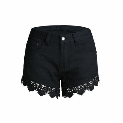 Lace Detail Denim Shorts - LottiLove