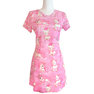 Holiday Unicorns - Short Sleeve V-Neck Dress - LottiLove Made to Order