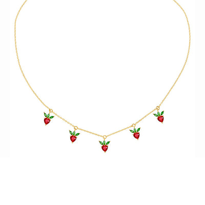 Strawberry Crystal Necklace - LottiLove Jewelry