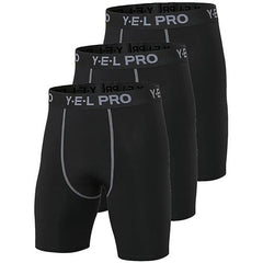3Pcs Compression Running Shorts The Fitness Trainer Store 3pcs Black S