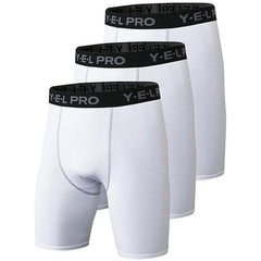3Pcs Compression Running Shorts The Fitness Trainer Store 3pcs White S