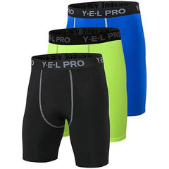 3Pcs Compression Running Shorts The Fitness Trainer Store Black Green Blue S